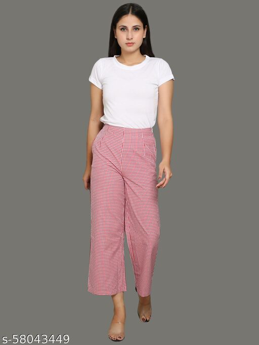 High waisted red checked trouser