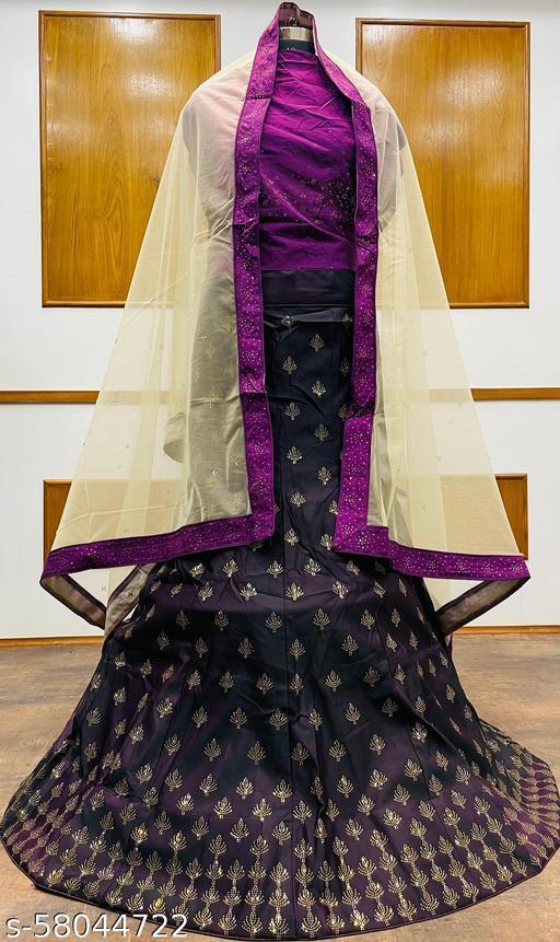 Women's Velvet Semi-Stitched Lehngha Choli - Velvet 98- Wine