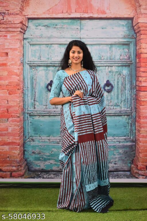 Yash Craft Hand Block Printed Cotton Mulmul Saree with blouse,Traditional jaipuri print