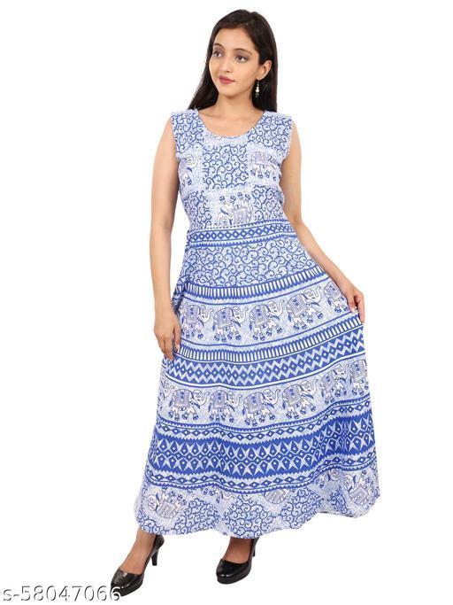 AKs Vogue Mart Women's Cotton Jaipuri Printed Kurti Long Midi Maxi Dress (Free Size Up to 44XL)