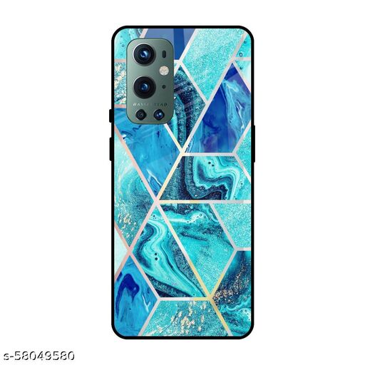 Qrioh Printed Tempered GLass Back Case Cover Compatible with OnePlus 9 Pro - Aquatic Tiles Real Glass Case