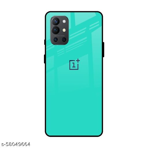 Qrioh Printed Tempered GLass Back Case Cover Compatible with OnePlus 9R - Aqua Marine Real GLass Case
