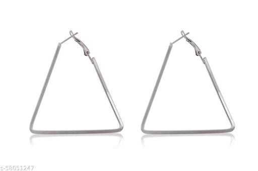 Alloy Metal triangle Shape Gold Hoops Earnings For Women And Girls…