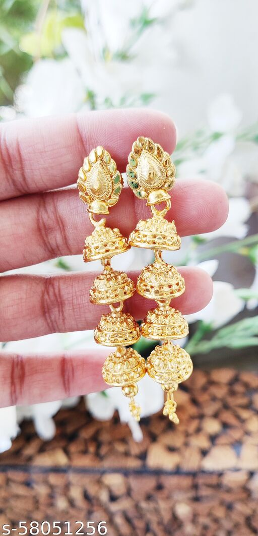 Prime and Precious Gold plated layered Jhumki