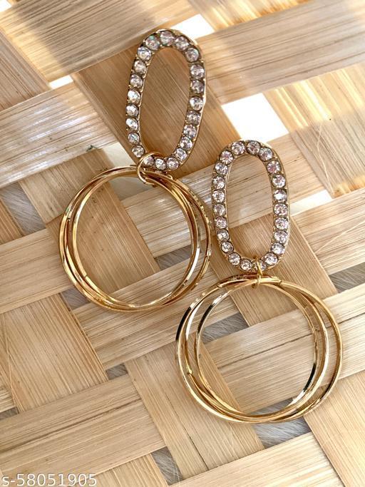 BLING Elegant AD Loop Ring Earrings