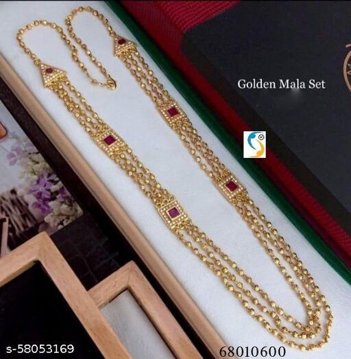 HIGH GOLD MICRO PLATED AD DIAMOND RUBY STONE LAYER CHAIN.