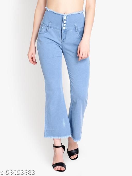 Ladies High Waist  denim Bell Bottom Jeans