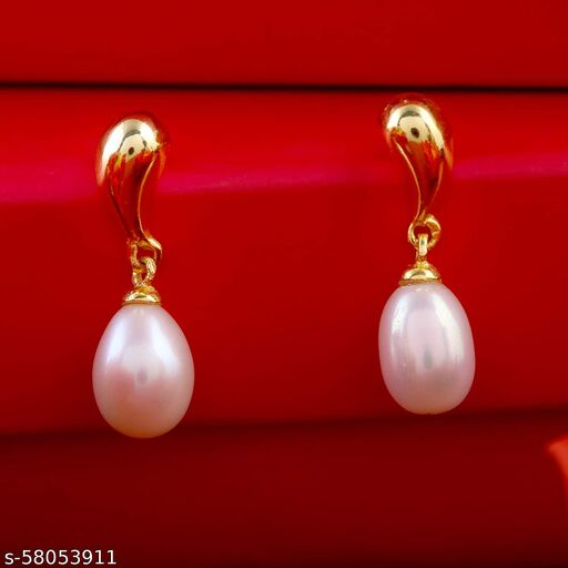 PEARLS Yellow tinted Pearl Earrings For Girls and Women