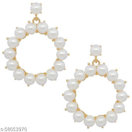 Fresh Vibes Gold Plated White Pearls Round Hoop Design Earrings for Girls - Stylish & Fancy Gold Plated Long Hanging Loop Ear Rings for Womens