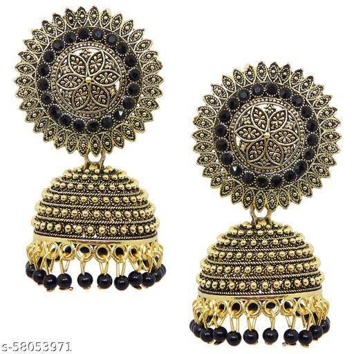 Fresh Vibes Golden Oxidized Big Size Traditional Jhumka Earrings for Women - Heavy Fancy Black & Gold Ethnic Jhumki Earings for Girls