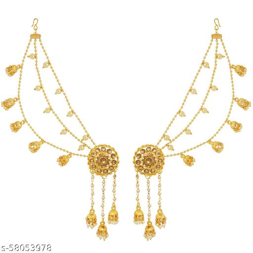 Fresh Vibes Golden Party Wear Long Bahubali Jhumki Earrings with Hair Chain for Women - Antique Traditional Devsena Heavy Hanging Jhumka Ear Rings for Ladies
