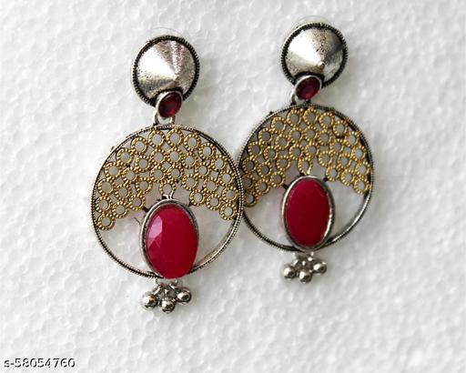 Earring Oxidised Gold Tone Attractive Crystal & Pearl Chandbali Designer Earring Jewelry For Women & Girls