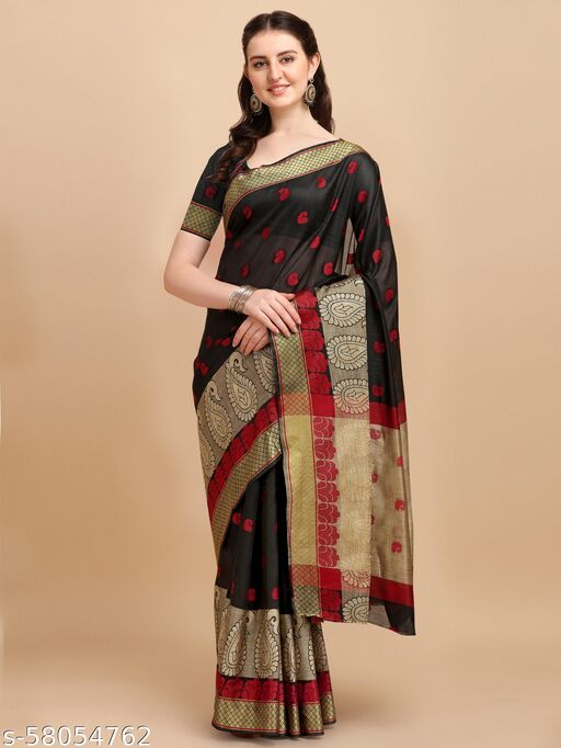 DEVANGI Women's Cotton Silk Saree with Blouse Piece
