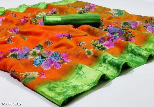 fashionable linen satin saree