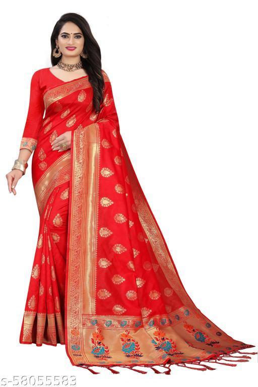 MANSORY ENTERPRISE Women's Lichi Silk Saree With Zari Work
