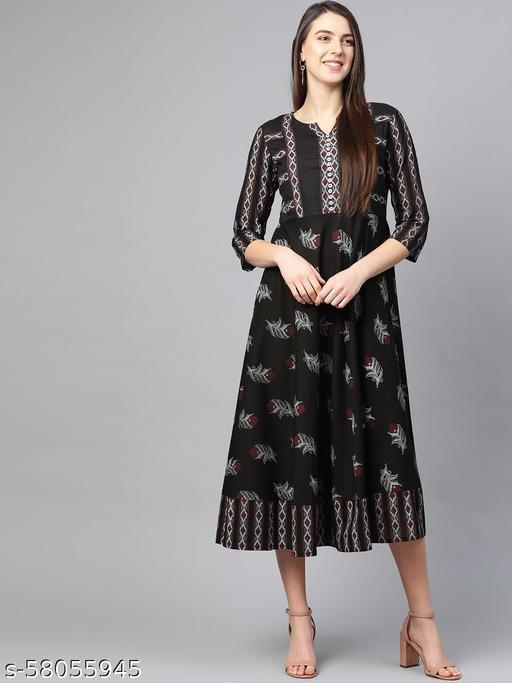 Akiko Women's Maternity Wear Floral Printed Anarkali Dress (Black)