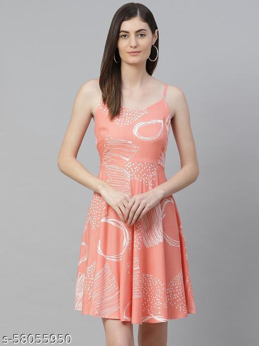 Akiko V-Neck Geomatrical Fit & Flared Dress (Pink)