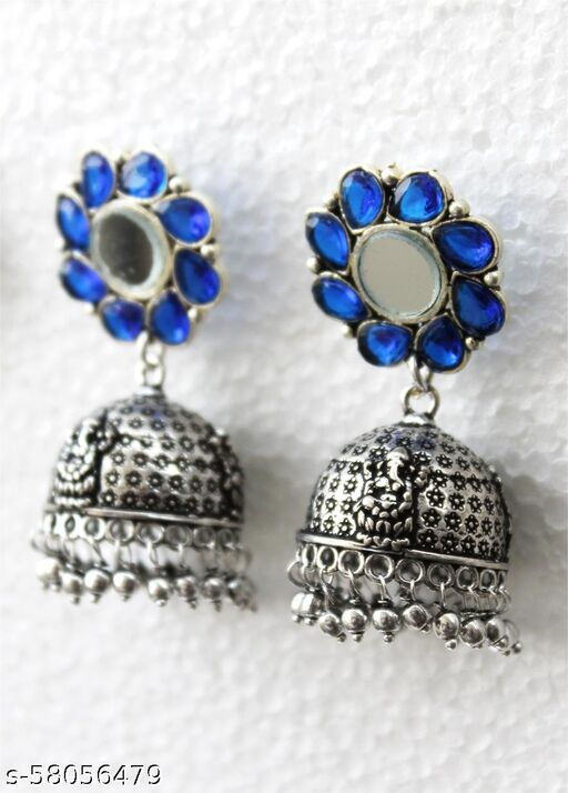 Silver Blue Flower Jhumka