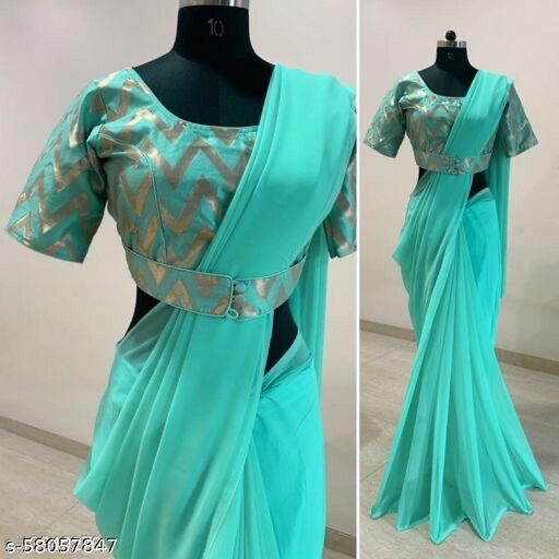 Women's Satin Embroidery Mirror Work Saree With Blouse Piece