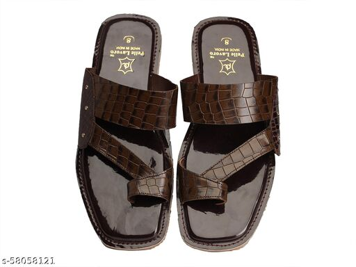 Men's Genuine Leather Slipper - Flat Chappal cum Thong Sandal - For Daily Use Outdoor Indoor Formal Office Home Ethnic Casual Wear, Angoothee Vaalee Chappal