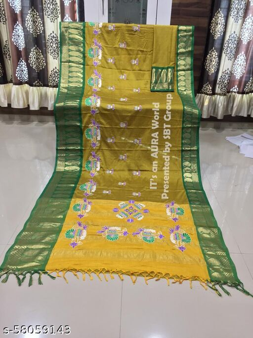Patankar Fab Party Wear Pure Jacquard Silk  Saree with Blouse Piece.