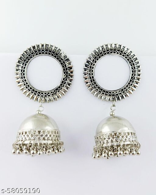 German Silver Statement Sun Rounded Jhumka Earrings
