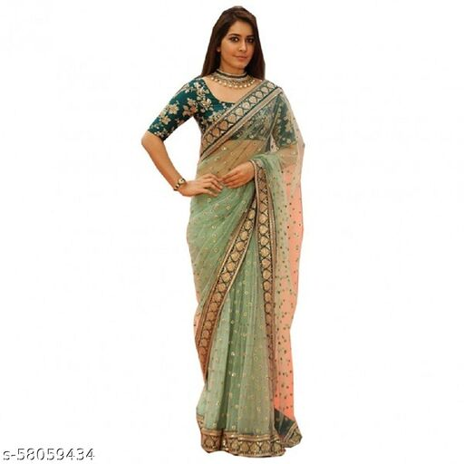 women's soft net embroidered saree with blouse…