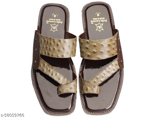 Men's Genuine Leather Slipper - Flat Chappal cum Thong Sandal - For Daily Use Outdoor Indoor Formal Office Home Ethnic Casual Wear, Angoothee Vaalee Chappal, Slip On