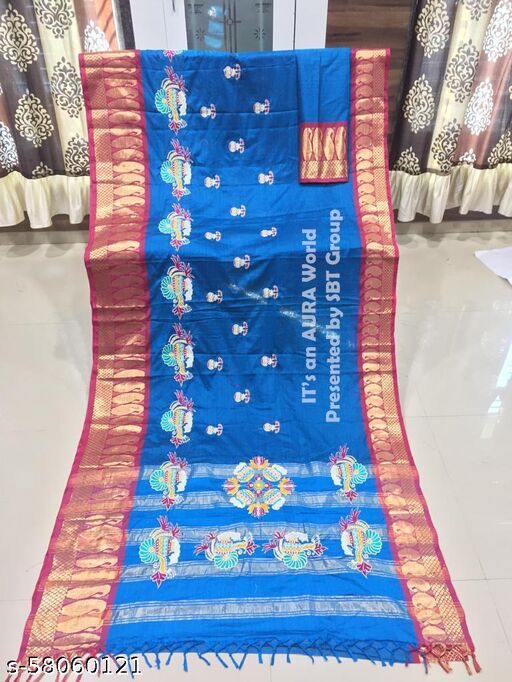 Cloth Boost Party Wear Pure Jacquard Silk  Saree with Blouse Piece.