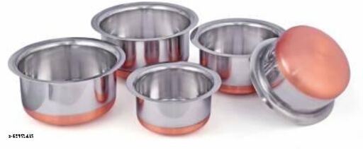 Stainless Steel Copper Bottom Cookware Set Pot Sets (Silver)(5 Piece Tope with 5 Piece Lid)