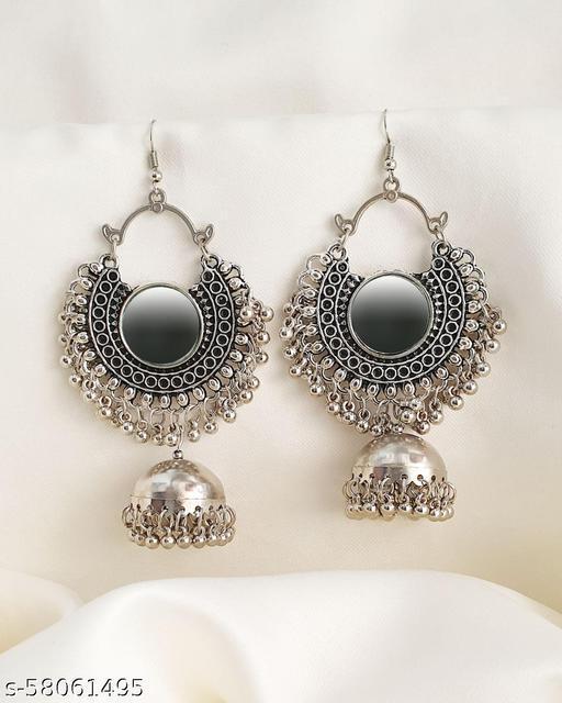 Elegant Mirror Oxidised Jhumkas Earrings & Studs