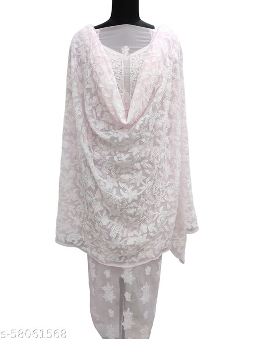 Shyamal Chikan Hand Embroidered Lucknawi Chikankari Georgette Suit Length With Full Jaal Dupatta - 8052622506
