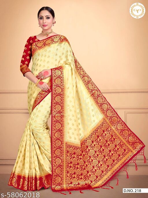 MAA ENTERPRISE Women's Raw Silk Saree With UnStitched Blouse Piece