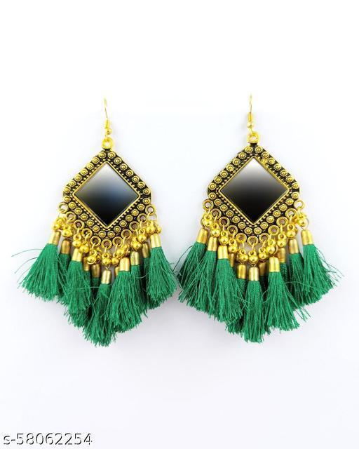 Green Tassel Diamond Mirror Oxidised Jhumka Earrings