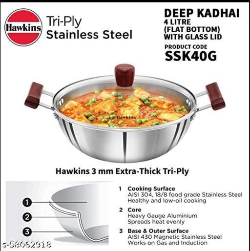 Hawkins Futura Stainless Steel Kadai 4 litre with Glass Lid