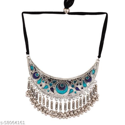 Shreyadzines Exclusive German Silver Oxidised Meenawork Enamel Work Choker Necklace Statement Jewelry for Women and Girls