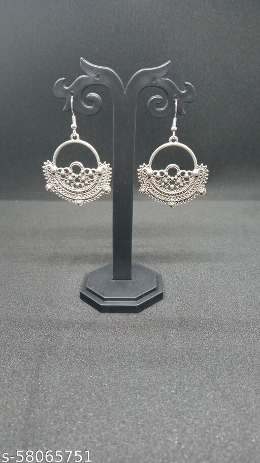 Stylish silver oxidised earrings