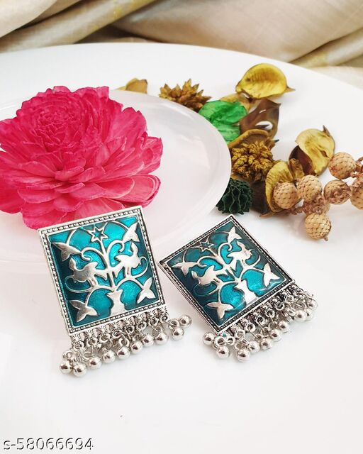 Antique Aqua Enamelled Square earrings Studs
