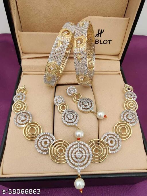 Fancy Dealz  Stone Gold-plated Jewel Set  (Gold, Silver)