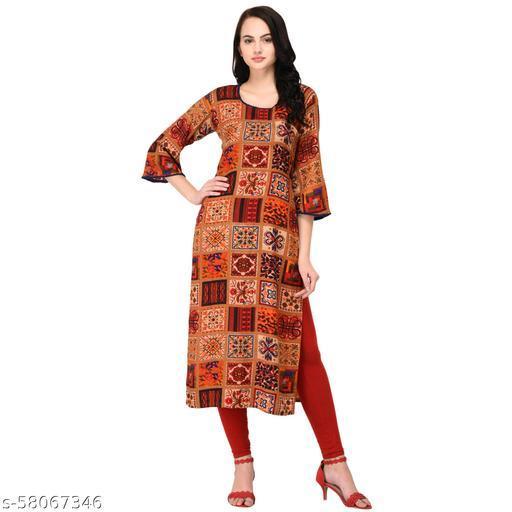 VGANG Women's Rayon Multicolored Printed Straight Kurti