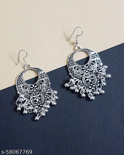 Waterdrop Oxidised Dangler Earrings