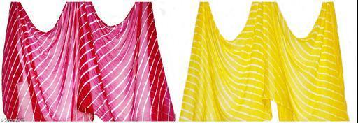 Chiffon Multicolor Jaipuri Dupattas Combo of 2