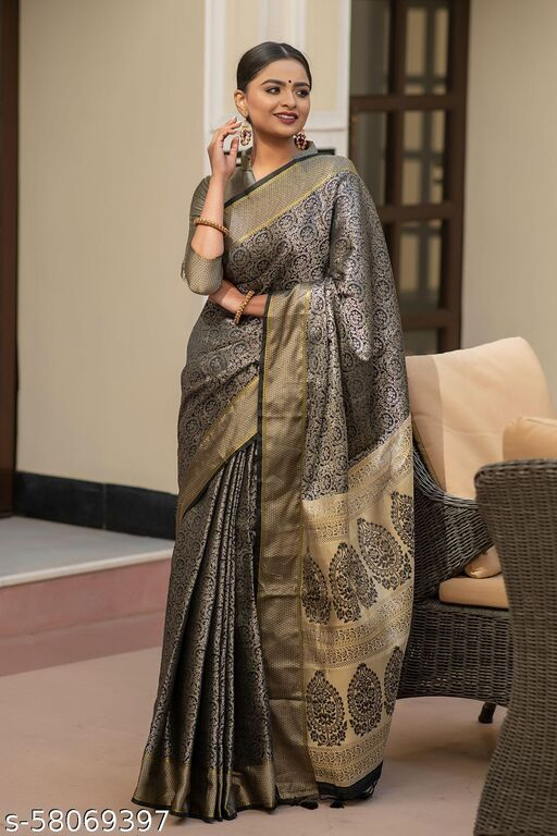 Shangreela Soft kanchipuram silk saree with all over zari weaves and zari border with rich fancy pallu with fancy tassels and matching blouse piece