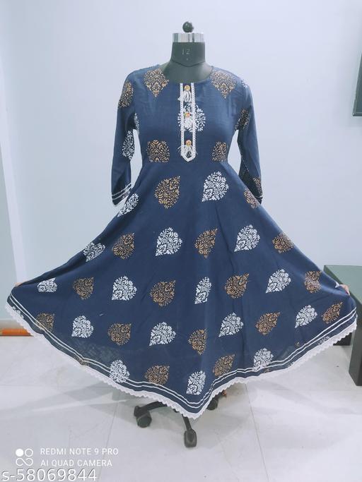 Jaipuri Printed Cotton Slub Anarkali Gown