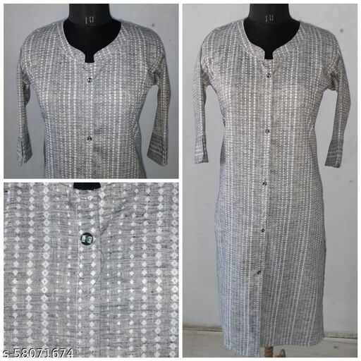 Cotton self striped straight kurta with side pocket