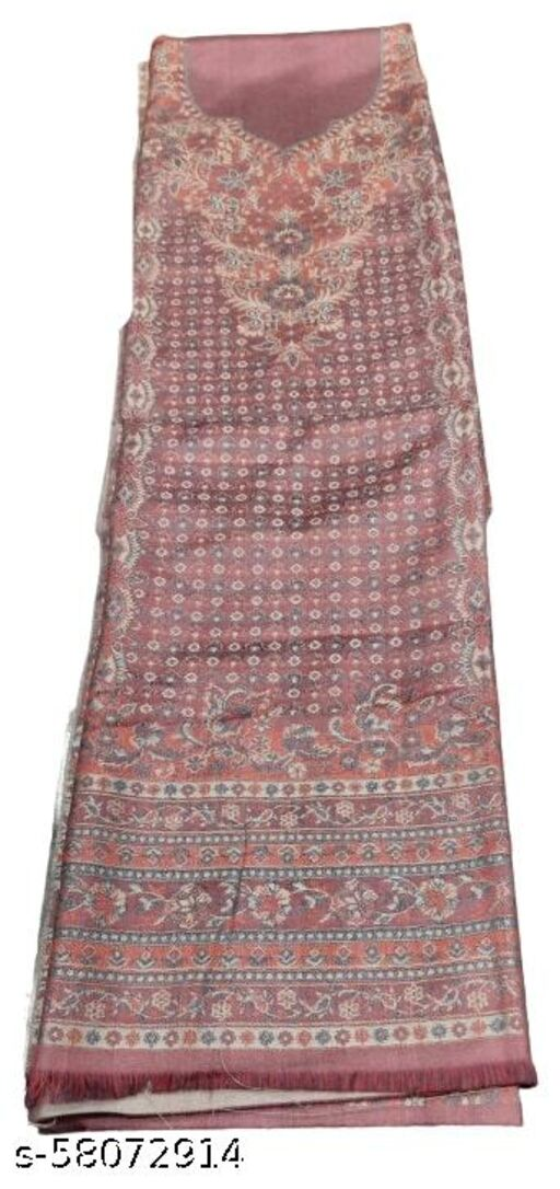 Maurya Printed Woolen Suits For Women Unstitched Winter Suits For Women With Shawl- Light Wine, Printed Neck Kurti, Printed Bottom And Printed Shawl