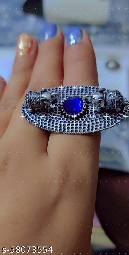 Party wear blue stone oxidised ring