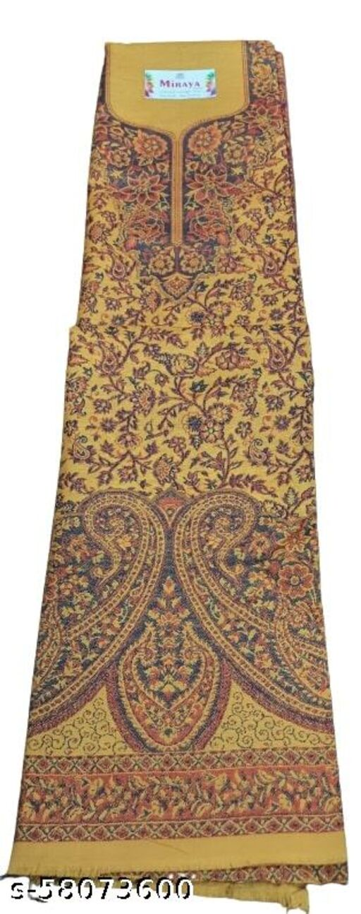 Maurya Printed Woolen Suits For Women Unstitched Winter Suits For Women With Shawl- Mustard, Printed Neck Kurti, Printed Bordered Bottom And Printed Shawl