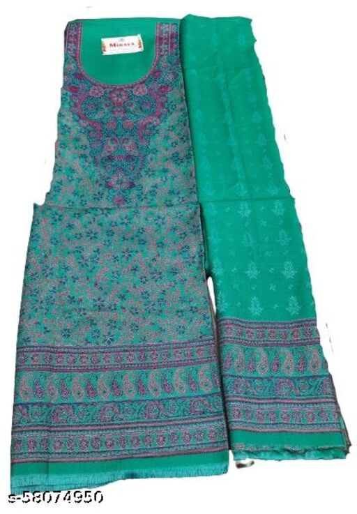 Maurya Printed Woolen Suits For Women Unstitched Winter Suits For Women With Shawl- Sea Blue, Printed Neck Kurti, Printed Bordered Bottom And Printed Shawl