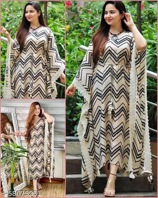 Women Rayon Straight Ankle Length Maxi Nighty Dress Kaftan with Waist Drawstring in V Neck Collar